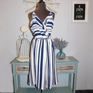 Elodie Navy Blue & White Jumpsuit Size Medium